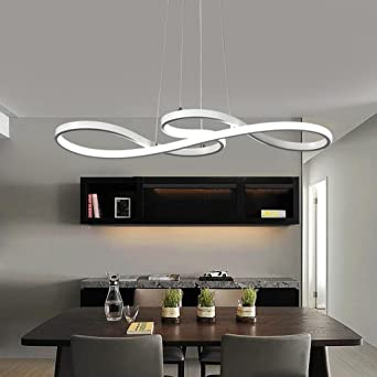 60w Led Pendelleuchte Modern Kreativ Design Lampe Innen Beleuchtung  Hhenverstellbar Esstisch Leuchte Einfache Dekoration Hngelampe Weiss