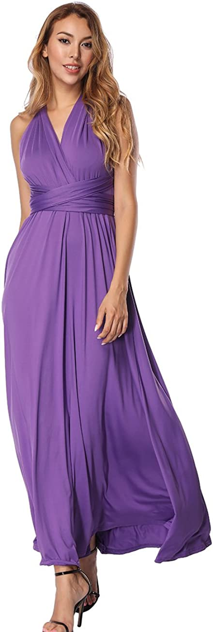 SELUXU Womens Transformer//Infinity Dress High Waist Convertible Multiway Wrap Bridesmaid Formal Long Maxi Dresses for S-XL Sizes