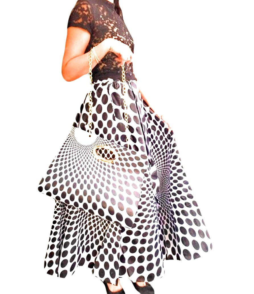 Be unique Womens Polka dot African Print Long Skirt with Matching Handbag & Scarf Black White