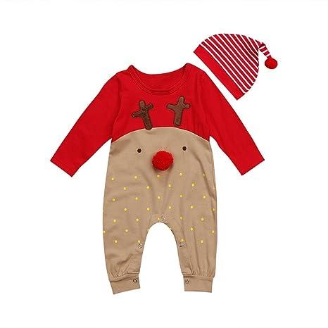 Wildeal recién Nacido bebé Navidad Pelele Pijamas de Manga Larga Ciervos Mono Ropa de Fiesta con