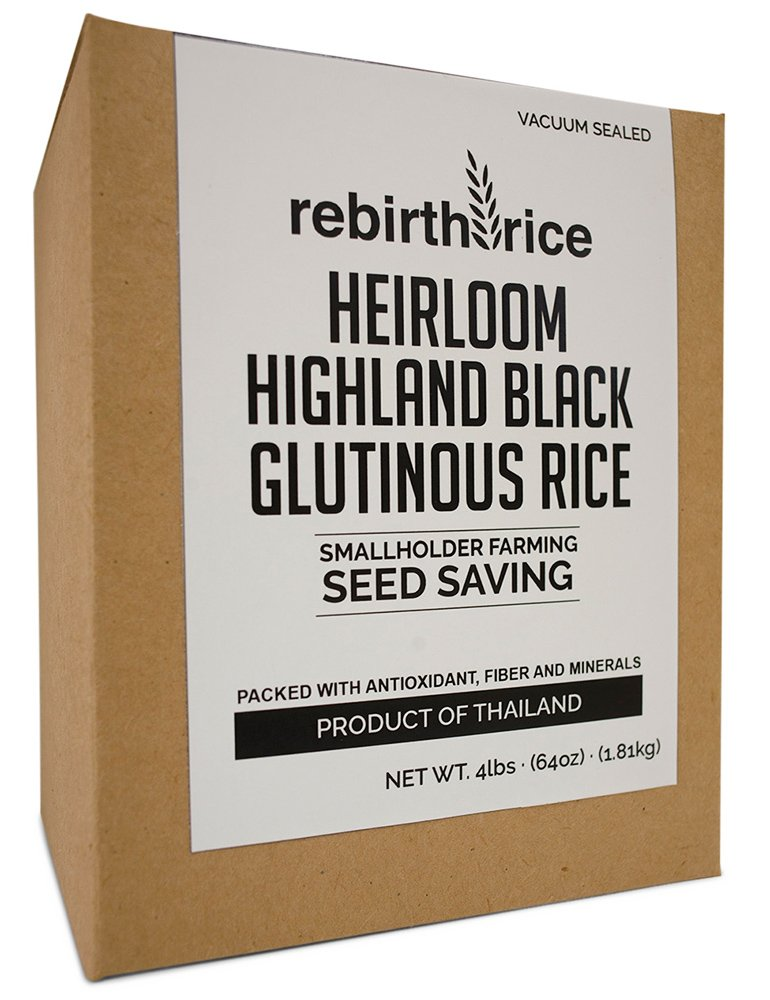 Rebirth Rice Heirloom Thai Sweet Black Rice, 4lbs/64oz, VACUUM SEALED | NON-GMO & Direct Trade | Farming Reference: We tell you where our rice grows by Rebirth Rice