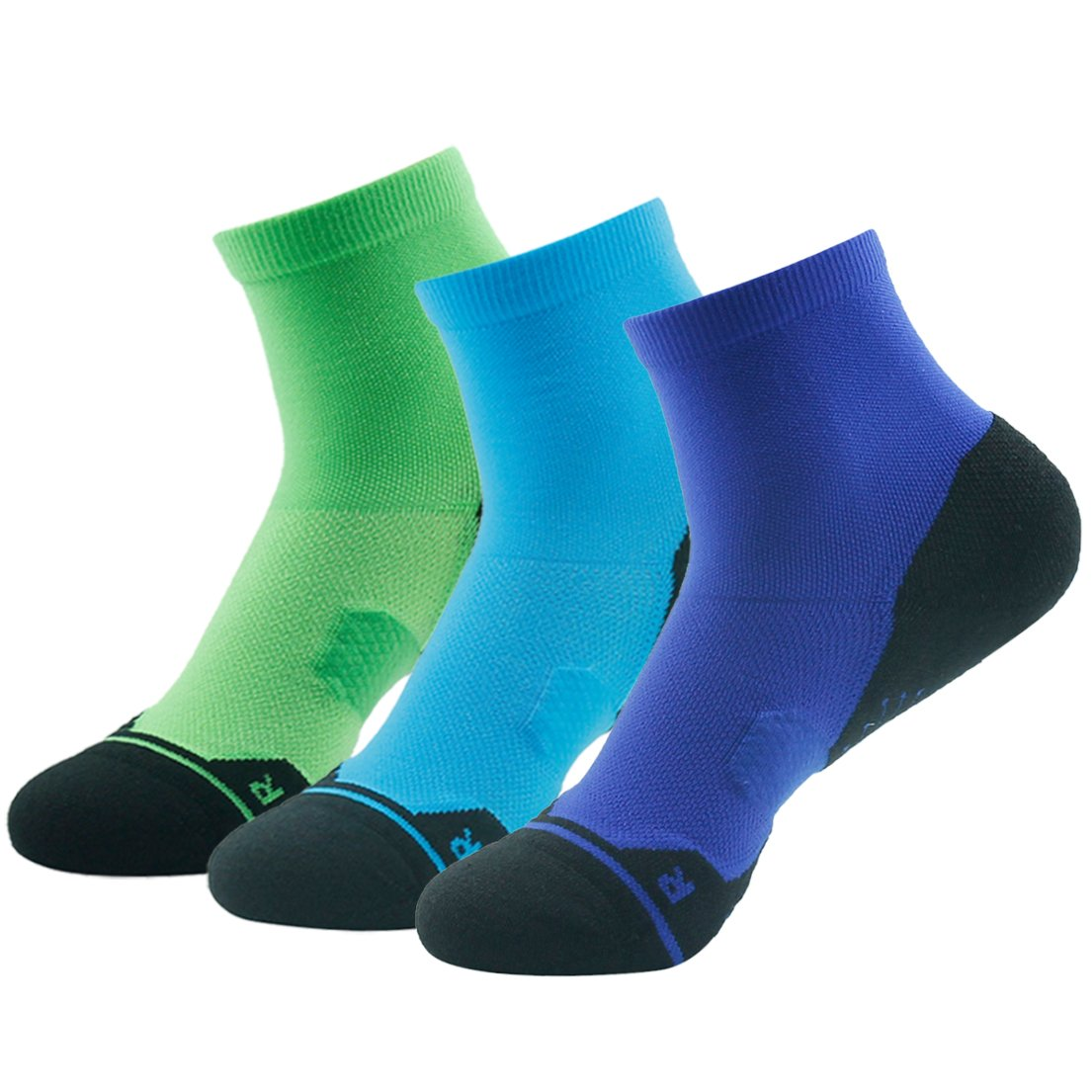 Z3 Pair bluee&green&navy bluee Running Socks Support, HUSO Men Women High Performance Arch Compression Cushioned Quarter Socks 1,2,3,4,6 Pairs