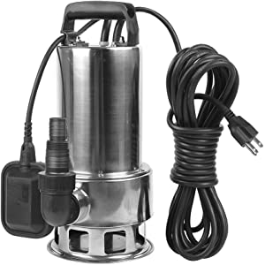 EXTRAUP 1.5HP 4250 GPH Stainless Steel Sump Submersible Clean Dirty Heavy Duty Drain Water Transfer