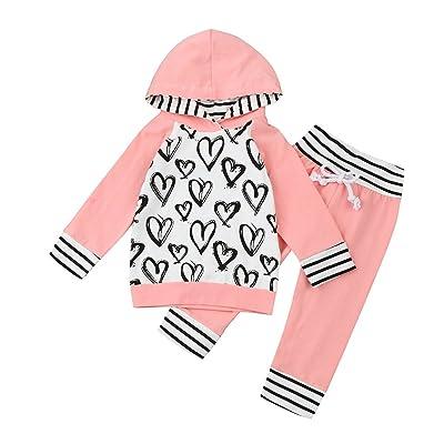 c45abf66da3c3 Sunenjoy 2 PCs Enfant Infantile Bébé Filles Long Manchon Cœur Imprimer  Vêtements Ensemble Hooded Tops +
