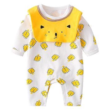 Mameluco Recién Nacido Manga Larga Mono Algodón Pijama Unisexo Bebés ...