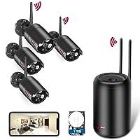 Système de Sécurité sans Fil Intérieur/Extérieur, Kits de Surveillance ANRAN, HD Vidéo Caméra, 1080p 4pcs Caméra, Vision Nocdurne, l'Appairage Automatique, Accès à Distance sur APP, 1TB Disque Dur