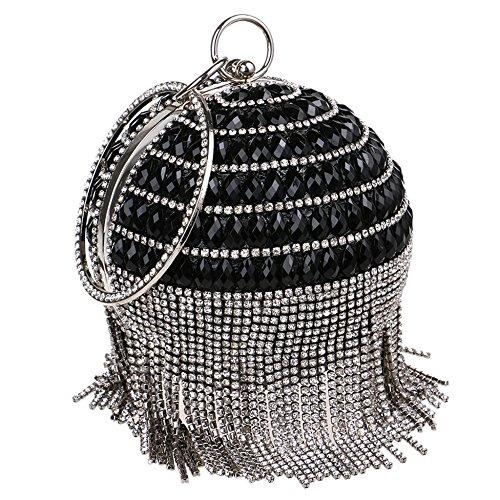Sacs Demoiselle Mariage Bandoulière Wristlets Black Pochette Lady Fringe Mode Pour Soirée D'honneur À Mesdames Spherical Femmes Cocktail Embrayages Ryyy Banquet Sac 0AUqwa6PC