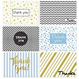 48 Assorted Thank You Cards, Ohuhu Postcard Style Thank U Greeting Card of 6 Designs, One Blank Side Note Cards W/48 Envelopes & 48 Stickers for Wedding, Baby Shower, Graduation
