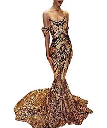 427b3591 Zechun Womens Mermaid Gold Sequins Off Shoulder Prom Dress Evening Gown at  Amazon Women's Clothing store: