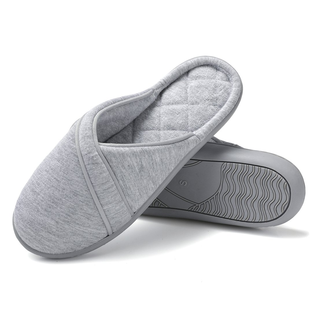 Dailybella Women's Cotton Slip On Slippers Anti-Slip Comfort Indoor Outdoor House Slippers (8-8.5 B(M) US, Grey)