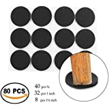 MIMU SHOP Self Adhesive Felt Pads for Furniture Round Self Sticking Protect Your Hardwood & Laminate Flooring, Black 80Pcs