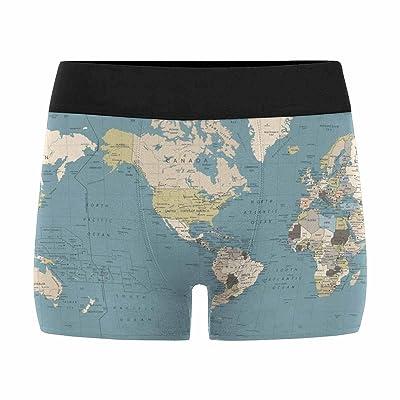 InterestPrint Mens Boxer Briefs Underwear World Map America in Center Bathymetry (XS-3XL)