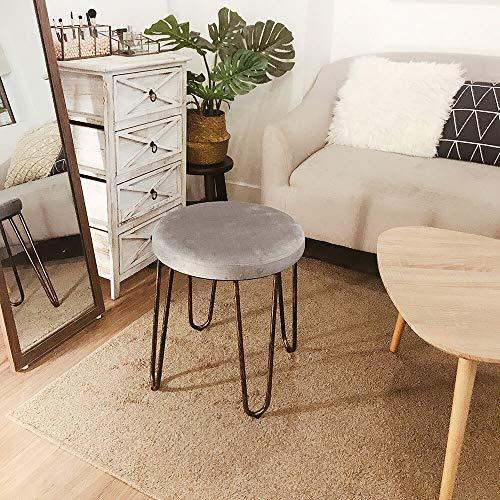 CANDIKO Gray & Bronze Round Makeup Vanity Chair Velvet Upholstered Metal Stool Bedroom Iron Room Bench Bathroom Ottoman