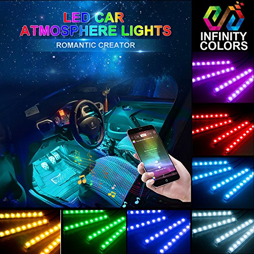 Car LED Strip Light-Carantee 4pcs 48 LED Bluetooth App Controller Car Interior Lights, Waterproof Multicolor Music Underdash Lighting Kits for iPhone Android Smart Phone, Car Charger Included, DC 12V
