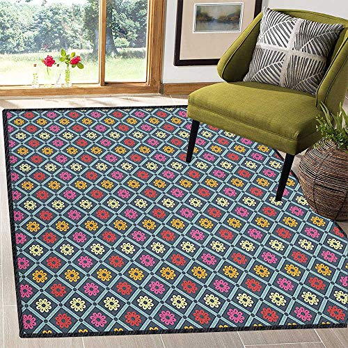 Colorful Home Decor Rug,Diagonal Checkered Pattern with Daisy Blossoms Inside Retro Effect Simple Tile with No-Slip pad Multicolor 67
