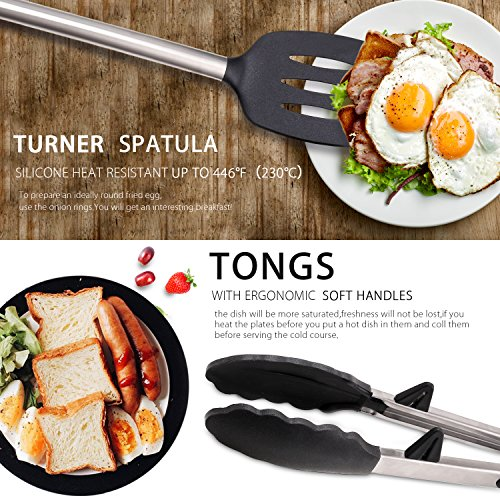 TUKANG Silicone Kitchen Cooking Utensil Set, Non-Stick & Heat Resistant with Solid Core, Upgrades include Ultra-Sharp Premium Julienne Peeler/Cutter/Slicer and Can Opener (black)