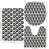 3 Piece Bathroom Mat Set,Black-and-White,Monochrome-Medieval-Knocker-Old-Antique-Figure-Head-Cartouche-Gothic-Theme,Black-White.jpg,Bath Mat,Bathroom Carpet Rug,Non-Slip