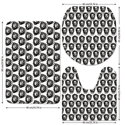 3 Piece Bathroom Mat Set,Black-and-White,Monochrome-Medieval-Knocker-Old-Antique-Figure-Head-Cartouche-Gothic-Theme,Black-White.jpg,Bath Mat,Bathroom Carpet Rug,Non-Slip by iPrint