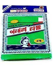 Korean Exfoliating Bath Washcloth [4 stuks] (groen) van TeChef Home door Korean Italy Towel