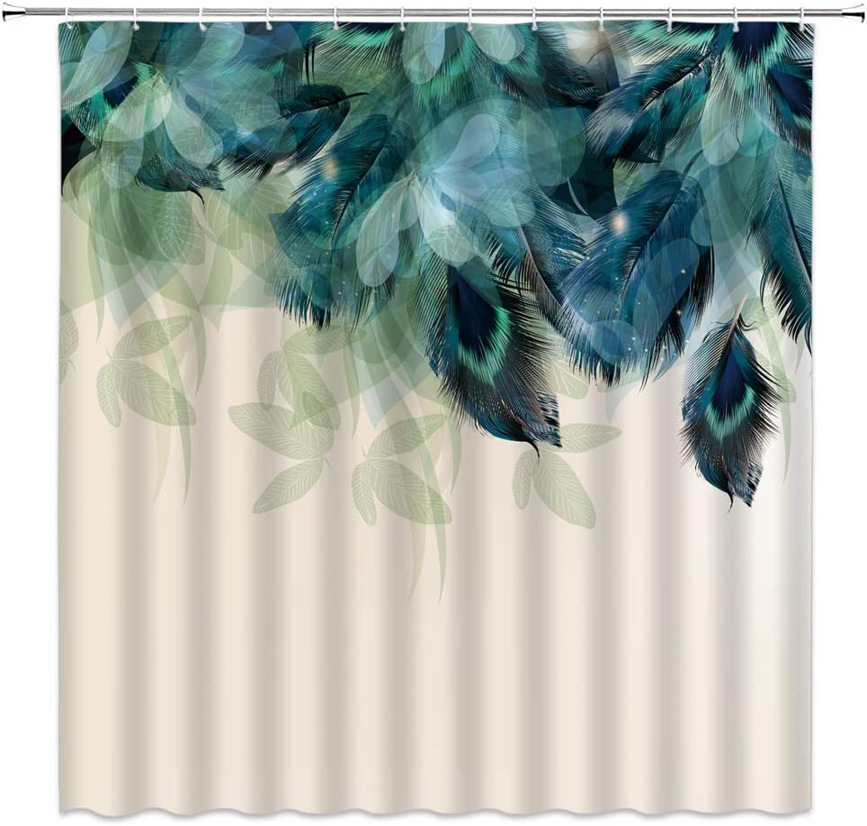 WZFashion Peacock Feather Shower Curtain, Dream Watercolor Peacock Feather Teal Blue Turquoise Floral Flower Green Leaf Natural Tropics Wildlife Decor Fabric Bathroom Curtain with Hook