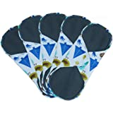 Women Bamboo Charcoal 8 - 11 Inch 3 Sizes Reusable Cloth Sanitary Pads Washable Nipkins (5 Pack), Breathable ,Size:S,M,L