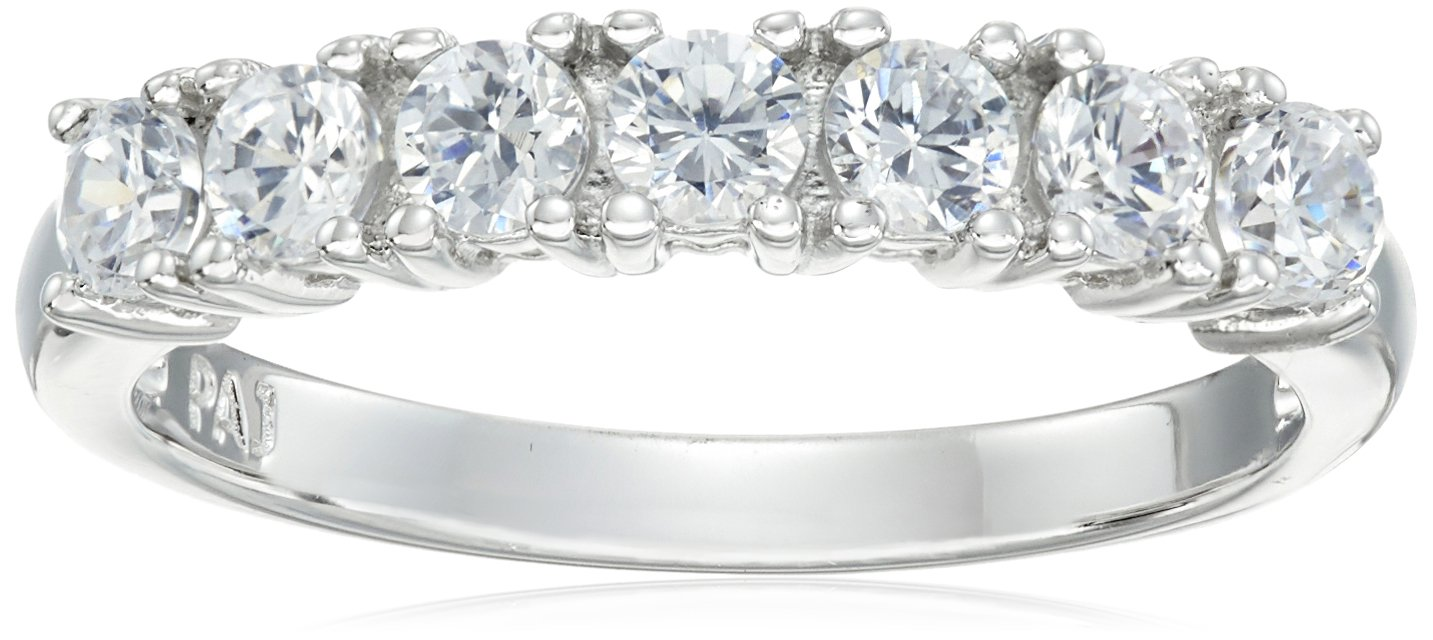 Platinum Plated Sterling Silver Round Cubic Zirconia Seven Stone Ring (3mm), Size 7