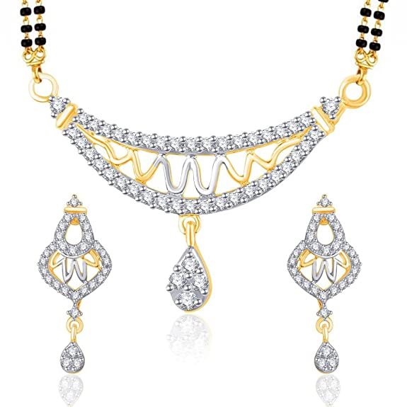 VK Jewels Zig Zag Gold And Rhodium Plated Alloy Mangalsutra Set with Earrings for Women made with Cubic Zirconia-MP1184G [VKMP1184G] Jewellery Sets at amazon