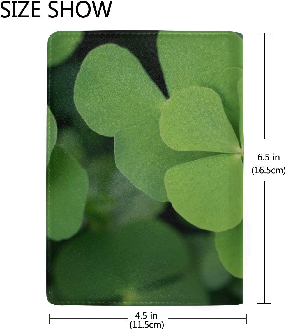 Large Green Clover Field In Forest Blocking Print Passport Holder Cover Case Travel Luggage Passport Wallet Card Holder Made With Leather For Men Women Kids Family