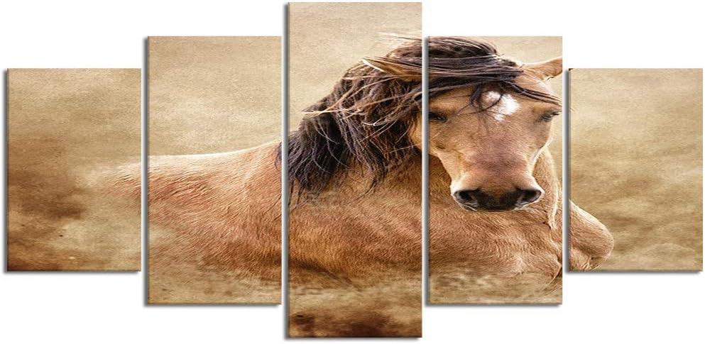 ZORMIEY Cuadro en Lienzo,5 Partes Pintura al óleo equino retrato mustang caballo salvaje buckskin dust de Arte de Pared Decoración del Hogar para el Cartel Modular