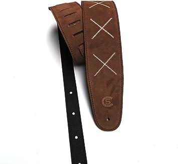 Sangle guitare et basse en cuir daim avec broderie XXX Custom Style t8sux Brown x