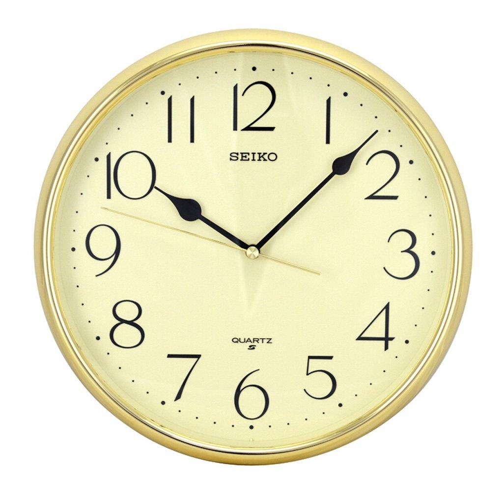 ファッションクリエイティブリビングルーム寝室入り口の壁時計、ヨーロッパのシンプルなペイントポインター銅補強ラウンドシングル壁ミュートの壁時計 (Color : Gold) B07FQ8NYDRGold