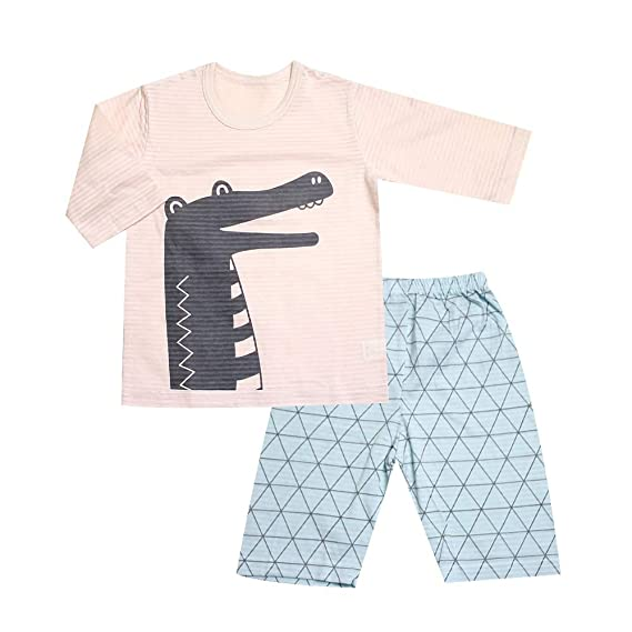 OllCHAENGi Baby Kids Boys Girls Cotton Pajama Set 3//4 Sleeve 3T-14Y Crocodile