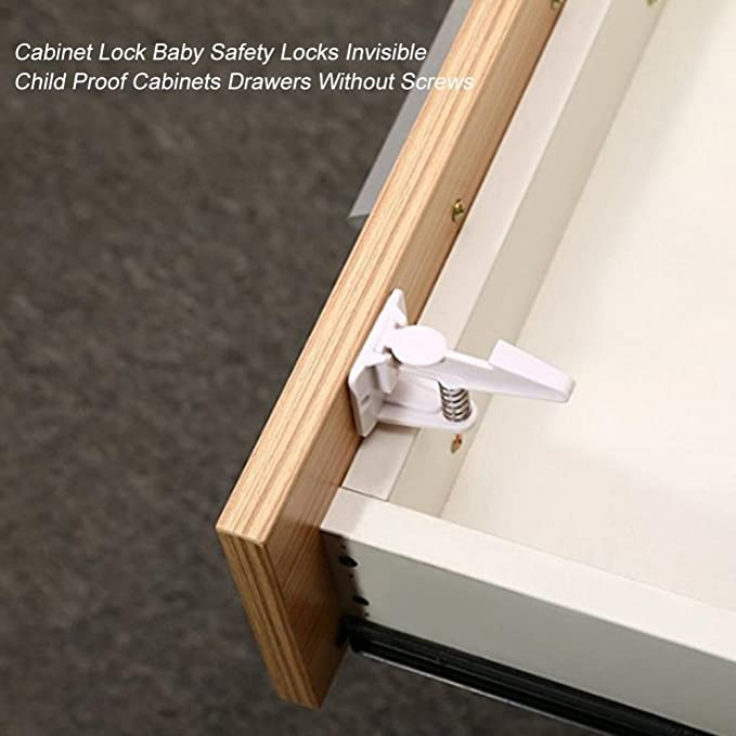 10pcs//Set Cabinet Locks Baby Safety Child Proof Drawer Locks with No Tools Cute Cartoon Invisible Locks Zerodis