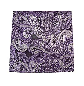 100% Woven Silk Eggplant Paisley Pocket Square
