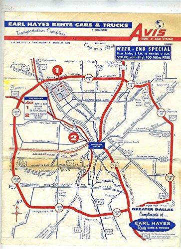 Greater Dallas Map.Amazon Com Earl Hayes Avis Rent A Car Maps Of Dallas Texas 1950 S