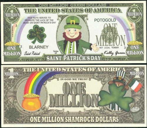 Leprechaun Saint St. Patrick's Day Million Dollar Novelty Bill Lot of 25 Bills