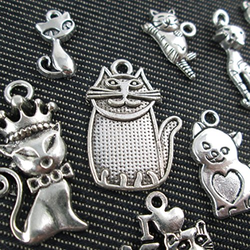 10pcs Mixed Tibetan Silver Plated Animals I Love My Cat Charms (NS514 M025-M025) - I Love My Cat Charm
