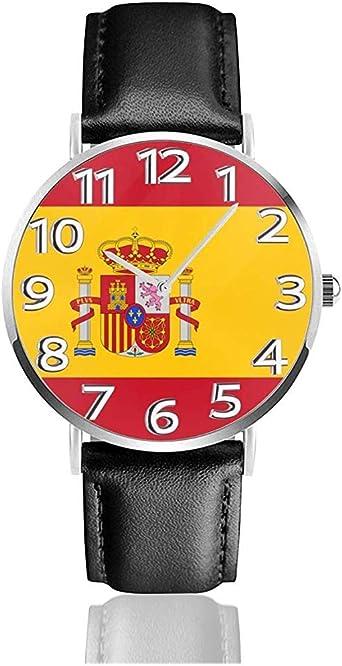 Reloj de Pulsera España Bandera Reloj de Cuarzo Casual clásico Relojes de Negocios: Amazon.es: Relojes