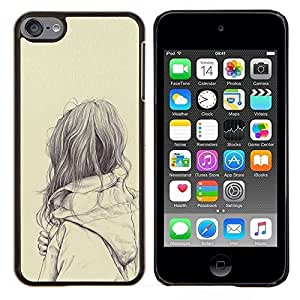 EJOOY---Cubierta de la caja de protección para la piel dura ** Apple iPod Touch 6 6th Touch6 ** --muchacha triste