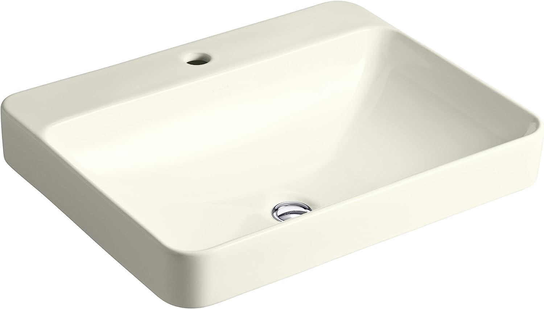 KOHLER K-2660-1-96 Vox Rectangle Vessel Above-Counter Bathroom Sink with Single Faucet Hole, Biscuit