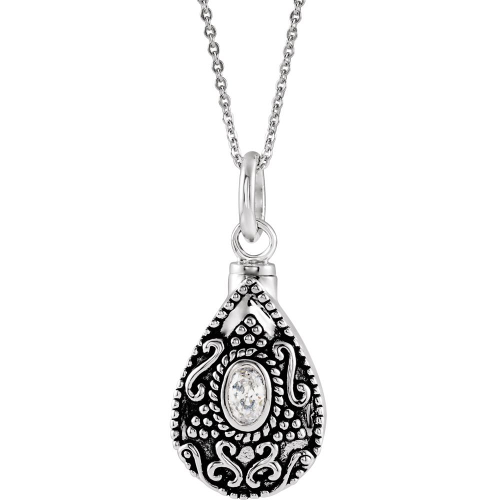 Jewels By Lux 925 Sterling Silver April Birthstone Accented Tear Ash Holder 18 Necklace