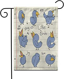 """Awowee 12""""x18"""" Garden Flag Bluebirds Singing Loudly Laying Egg Sleeping Doodle Drawings Outdoor Home Decor Double Sided Yard Flags Banner for Patio Lawn"""