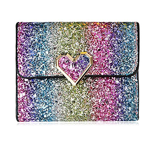 Rmcxly Multicolor Metal Sequins Small Wallet PU Leather Patchwork Hasp Mini Wallet for Women and Purses Money Wallet Card Bag Coins Bag (Heart button)