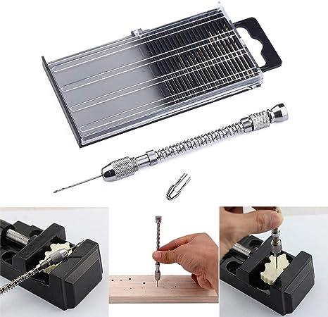 Chirpa - Juego de 21 brocas mini microperforadoras y taladro manual de aluminio y estuche para hobby: Amazon.es: Hogar