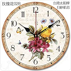 Quietness @ Modern Colorful Creative Silent Non-ticking Wall Clock Continental idyllic /10 inch/ rose 028 with a second