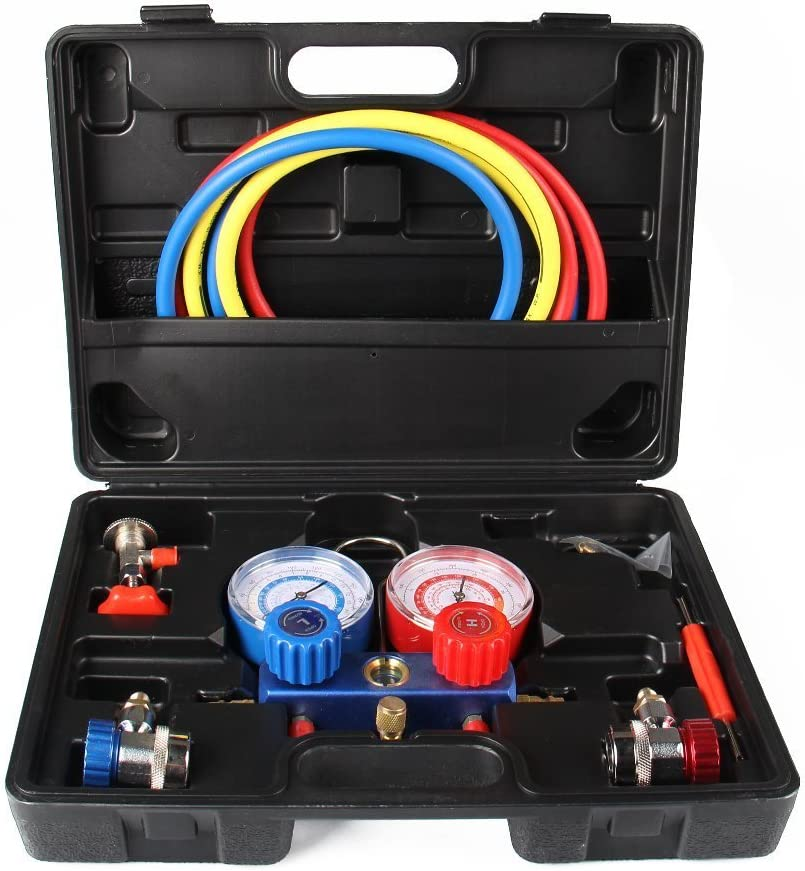 Upgraded with R134A Adapter ! Kool AC A/C Manifold Vacuum Gauge Hose Set, 5 Feet, Refrigeration, R134A, R410A, R404A, R22, Extra Adapter is Reqiured