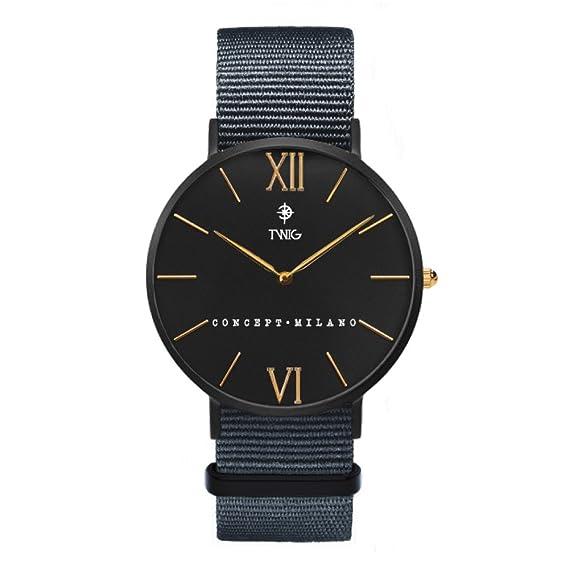 Reloj Hombre/Mujer TWIG Haring Limited clásico Militar Vintage (Gris)
