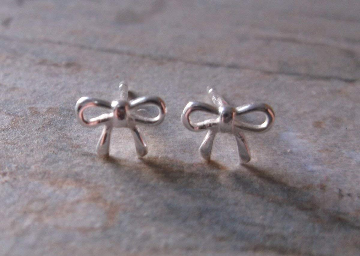 Small Sterling Silver Bow Stud Earrings