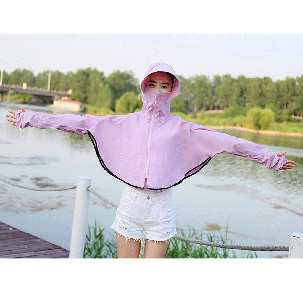 GJK-SION Women Sunscreen Hooded Coat Skin-Friendly and Stretch Resistant Sun Protection Zipper Elegant Beach Coat Long Sleeve Sunblock Causal Jackets Comfortable Breathable,Soft