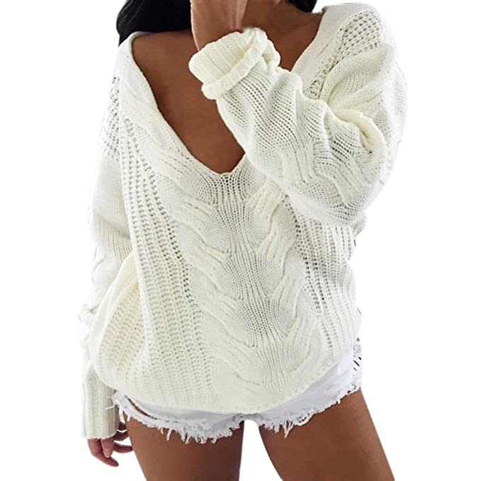 650d8cc9360a YANG-YI HOT Women Long Sleeve V Neck Top Sweater Pullover Loose Jumper  Knitwear (